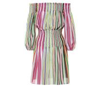 Gestreiftes Off-Shoulder Kleid aus Baumwolle