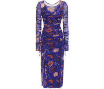 Bedrucktes Kleid mit Raffungen