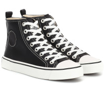 High-Top-Sneakers aus Satin