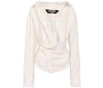 Asymmetrische Bluse aus Leinen und Baumwolle