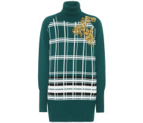 Pulloverkleid aus Schurwolle mit Verzierung