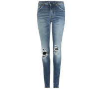 Skinny Jeans mit Destroyed-Effekt und Leder