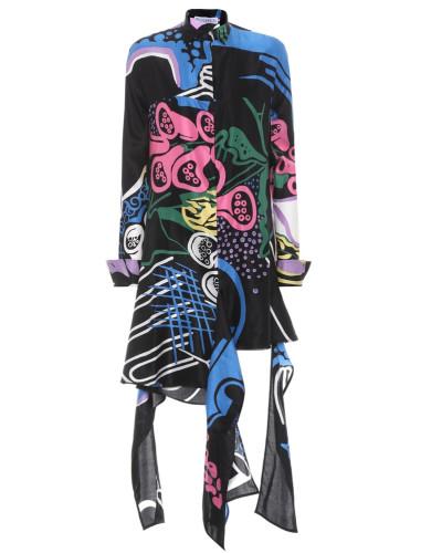 Bedrucktes Kleid aus Baumwolle und Seide