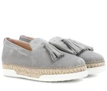 Verzierte Loafers aus Veloursleder