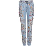 Verzierte Boyfriend-Jeans