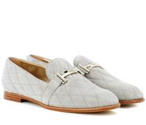 Loafers aus gestepptem Veloursleder