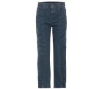 High-Rise Jeans mit Raffungen