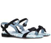 Verzierte Sandalen aus Veloursleder