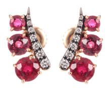 Ohrringe aus Roségold mit Diamanten und Saphiren