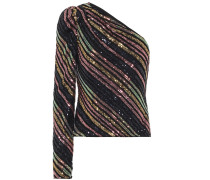 One-Shoulder-Top mit Pailletten