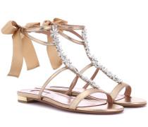 Sandalen Mustique aus Leder mit Kristallen