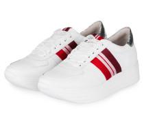 Plateau-Sneaker CALF - WEISS/ ROT