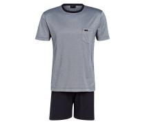 Shorty-Schlafanzug - navy/ grau