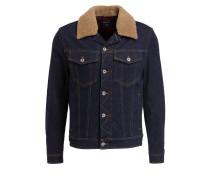 Jeansjacke mit Besatz in Felloptik