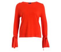 Cashmere/Seide-Pullover - orangenrot