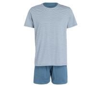 Shorty-Schlafanzug - blau/ weiss gestreift