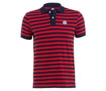 Piqué-Poloshirt - dunkelblau/ rot