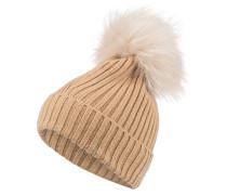 Mütze mit Echtpelzbommel