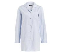 Pyjamashirt - hellblau/ weiss