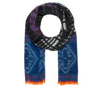 Cashmere-Schal - blau/ lila/ schwarz