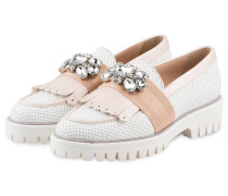 Plateau-Loafer - WEISS/ ROSE