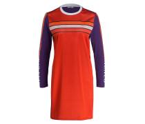 Kleid - orangerot/ violett/ weiss