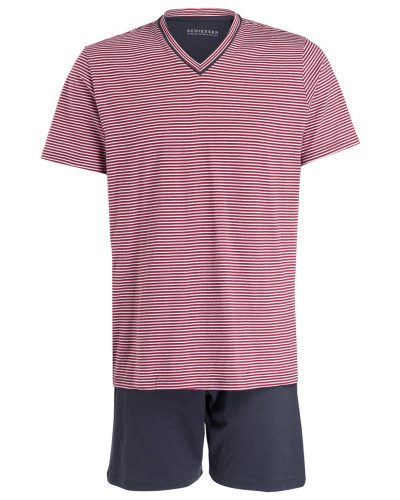 Shorty-Schlafanzug - marine/ rot/ weiss