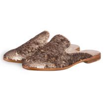 Slipper mit Paillettenbesatz - bronze