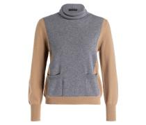 Cashmere-Pullover - beige/ grau meliert