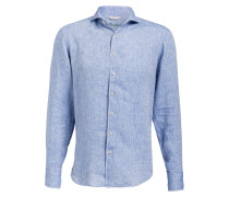 Leinenhemd Fitted body - blau meliert