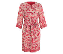 Kleid mit Seidenanteil - rot/ creme/ beige
