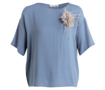 Blusenshirt mit Seidenanteil - blau
