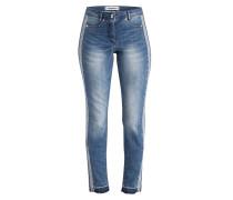 Jeans mit Galonstreifen - medium blue