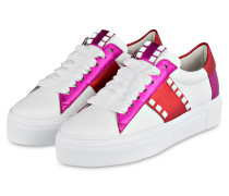 Plateau-Sneaker BIG - weiss/ pink / rot
