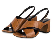 Sandaletten - COGNAC/ SCHWARZ
