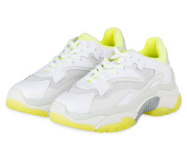 Plateau-Sneaker ADDICT - WEISS/ NEONGELB