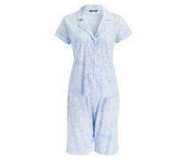 Shorty-Pyjama - hellblau/ weiss