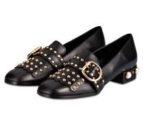 Loafer mit Perlenbesatz - SCHWARZ/ GOLD
