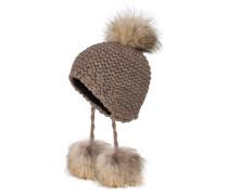 Mütze mit Pelzbommel - mocca