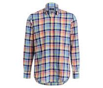 Hemd Comfort-Fit - blau/ orange/ gelb