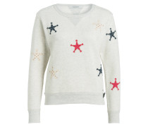 Sweatshirt mit Patches - ecru meliert