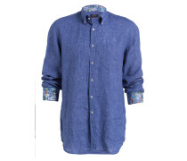 Leinenhemd Regular-Fit - blau