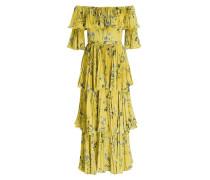 Off-Shoulder-Kleid - gelb/ grün/ grau