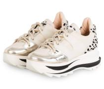 Plateau-Sneaker - WEISS/ ECRU/ GOLD
