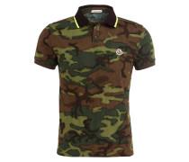 Piqué-Poloshirt - grün/ braun/ hellgrün