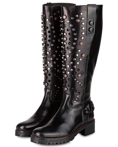 Stiefel mit Nietenbesatz - schwarz