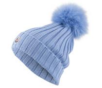Mütze mit Pelzbommel - hellblau