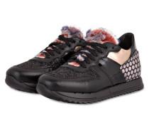Sneaker mit Fellbesatz - SCHWARZ
