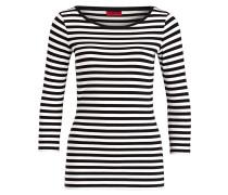 Shirt DANNELA mit 3/4-Arm - schwarz/ weiss
