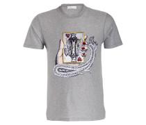 T-Shirt - grau meliert/ schwarz/ rot